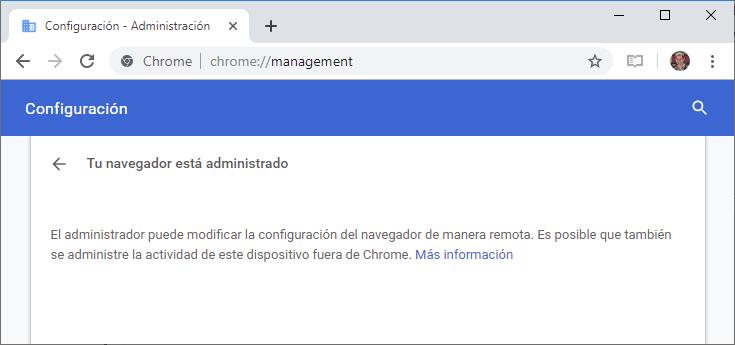 Tu navegador está administrado