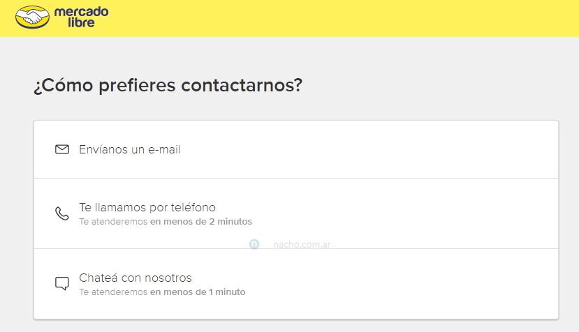 Contactar a MercadoLibre