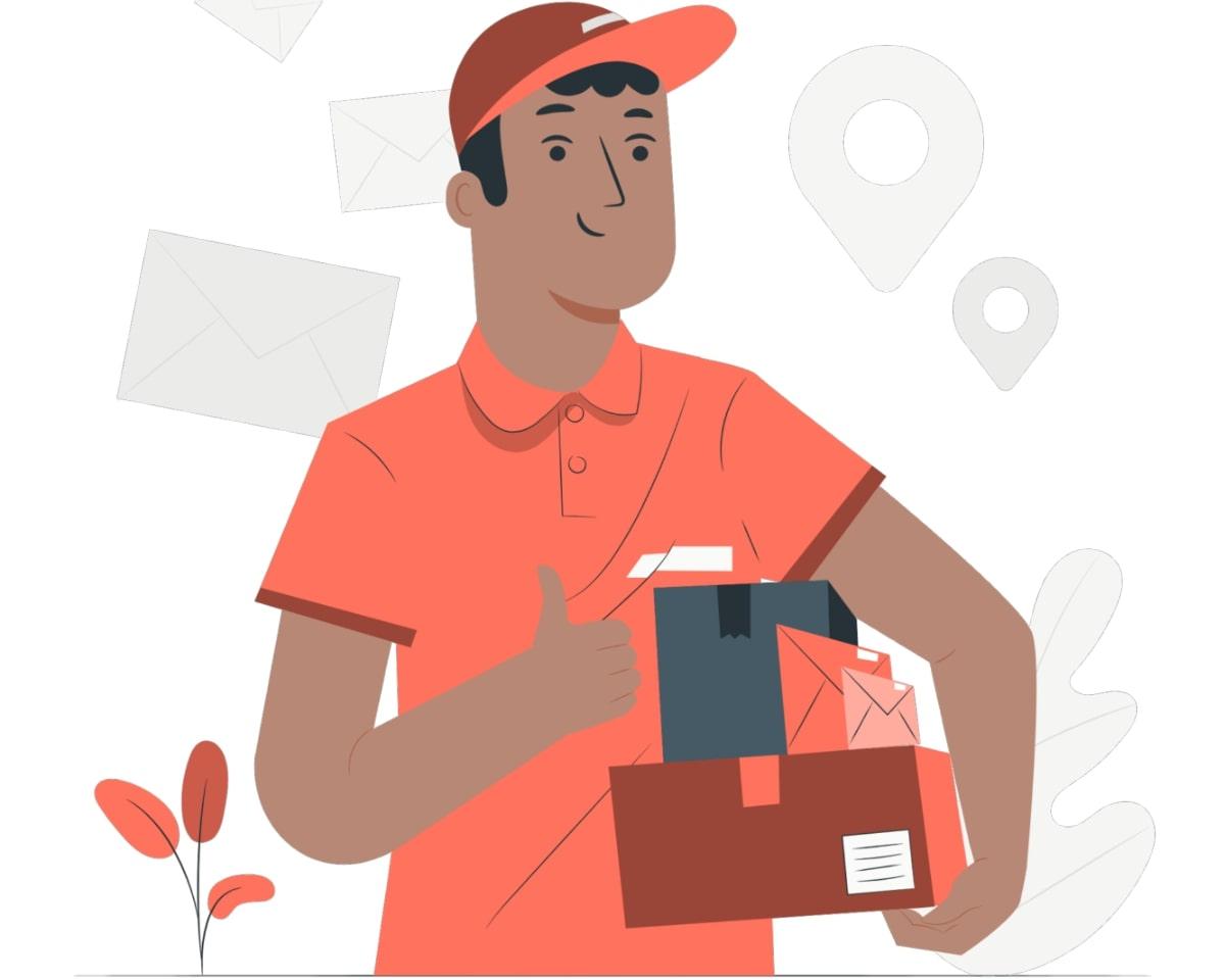 Mensajero entregando paquetes