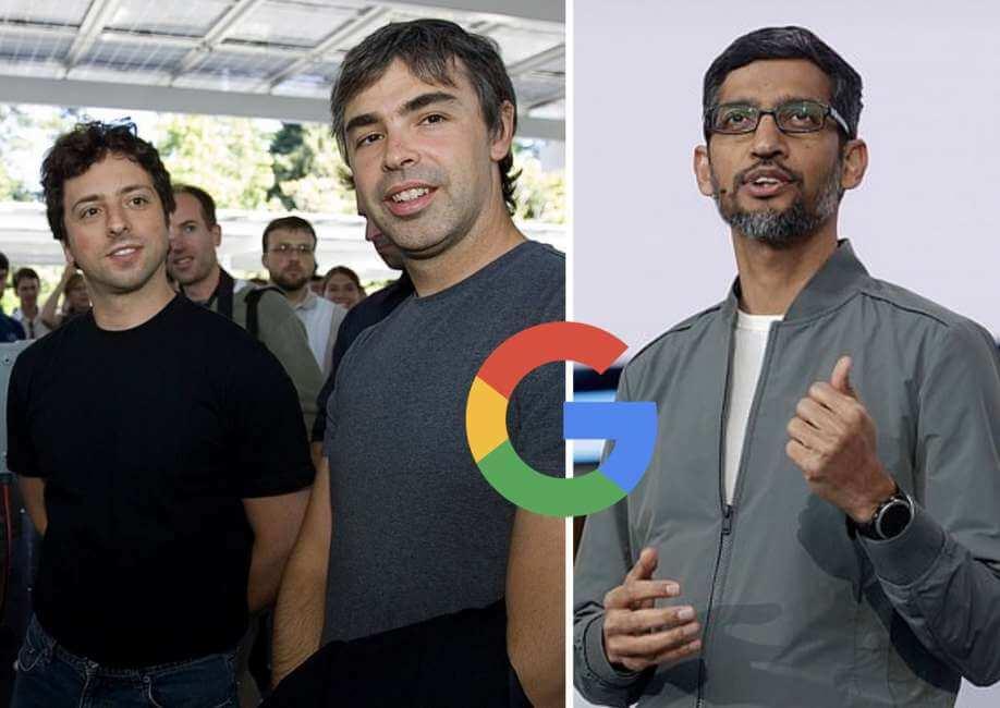 Sergei Brin, Larry Page y Sundar Pichai de Google Alphabet